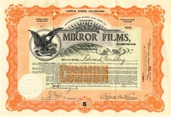 Mirror Films, Inc (Silent Movie Production Company)- Delaware 1916