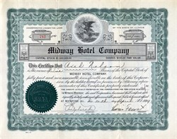Midway Hotel Company signed by Levin Faust - Rockford, Illinois 1929