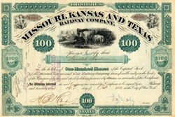 Missouri, Kansas and Texas Railway Company signed by  Robber Barron Jay Gould as President - New York 1880