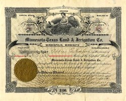 Minnesota Texas Land & Irrigation Company - Minneapolis 1901