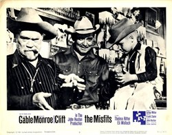 The Misfits Lobby Card Starring Clark Gable, Marilyn Monroe, and Montgomery Clift - 1961