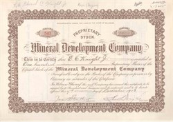 Mineral Development Company 1906 - 1909