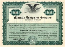Minerals Equipment Company 1928