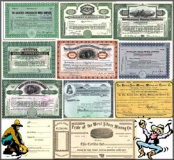 10 Certificates -  Gold Mining VALUE PACKAGE includes signature of Nevada legend, George Wingfield