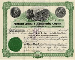 Minnesota Mining & Manufacturing Company (3M) 1904 - Signed by 3M Company Founders