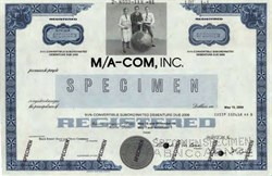 M/A-Com, Inc. Specimen 9 1/2 % Convertible Bond  (Microwave Associates)- Massachusetts 1981