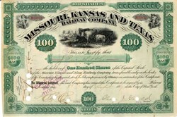 Missouri, Kansas and Texas Railway Company 1887 signed by George Jay Gould