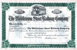 Middletown Street Railway Company - Connecticut 1890's