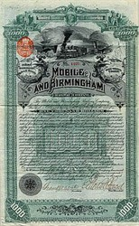 Mobile and Birmingham Railway Company - Alabama 1887