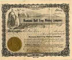 Montana Bull Frog Mining Company - Bull Frog Mining District, Nevada - Incorporated in  Arizona 1904