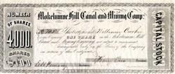 Mokelumne Hill Canal and Mining Company - Calaveras. Mokelumne - California 1852