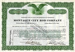Montague City Fishing Rod Company Stock Certificate (Became Ocean City Rod and Reel)  - Massachusetts 1926