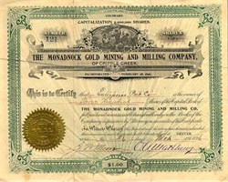 Monadnock Gold Mining and Milling Company of Cripple Creek - Colorado 1896