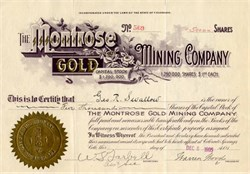 Montrose Gold Mining Company - Cripple Creek District, Colorado 1905