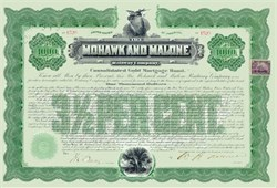 Mohawk and Malone Railway Company Gold Bond 1902