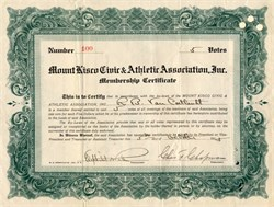 Mount Kisco Civic & Athletic Association, Inc. - New York 1914