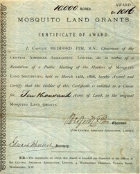 Mosquito Land Grants signed by Captain Bedford Pim - Westminster, S.W. Great Britain 1868