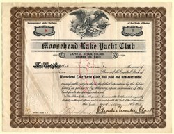 Moosehead Lake Yacht Club issued to Jay Cooke Jr.  - Kineo, Maine 1908