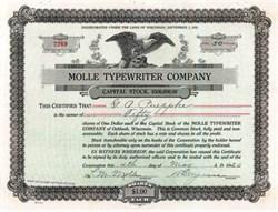 Molle Typewriter Company 1920 - Oshkosh, Wisconsin