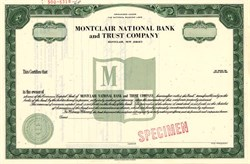 Montclair National Bank and Trust Company Specimen - New Jersey