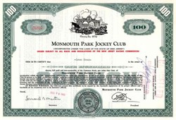 Monmouth Park Jockey Club issued to Leon Hess - New York Jets / Amerada Hess Oil