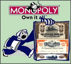 Monopoly Railroad Set - 4 Certificates from the Monopoly Game