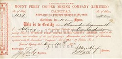 Mount Perry Copper Mining Company Limited - Sydney, Australlia 1873