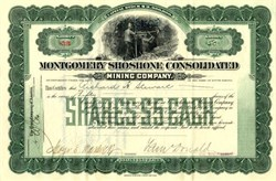 Montgomery Shoshone Consolidated Mining Company (Uncancelled)  - Nye County.  Bullfrog, Nevada 1911