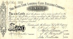 Moss Side Liberal Club Building Company Limited - England 1877