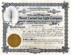 Mount Carmel Gas Light Company 1910 - Pennsylvania