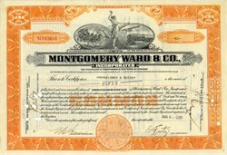 Montgomery Ward & Co. ( stagecoach, monoplane and train in vignette) - Issued in the same year of Stock Market Crash - 1929