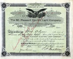 Mt. Pleasant Electric Light Company - Territory of Utah 1895