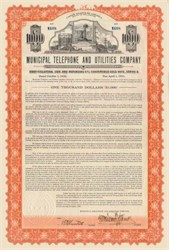 Municipal Telephone and Utilities Company 1930 - 6% Convertible Gold bond