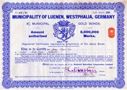 Municipality of Luenen, Westphalia, Germany 1930 - German Gold Bond
