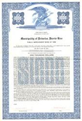 Municipality of Penuelas Public Improvement Bond - Puerto Rico 1958