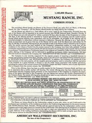 Mustang Ranch, Inc. - 1989 ( IPO Prospectus)