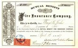 Mutual Benefit Fire Insurance Company 1869 - Boston, Massachusettes
