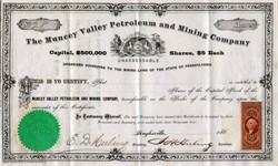 Muncey Valley Petroleum and Mining Company (Uncancelled IRS Tax Stamp ) - Pennsylvania 1865