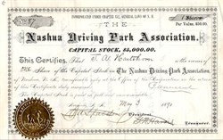 Nashua Driving Park Association 1890 - Early Horse Race Track - New Hampshire