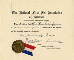 National First Aid Association of America  handsigned by Clara Barton (Red Cross Founder)  - Washington, D.C. 1908