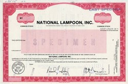 National Lampoon, Inc. (Matty Simmons as Chairman) - New York 1983