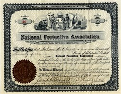 National Protective Association issued to and signed by Stilson Hutchins (Washington Post Founder) - 1903