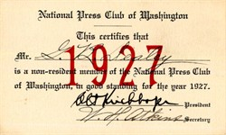 National Press Club of Washington Membership Card issued to George Bannerman Dealey ( Dealey Plaza ) - 1927