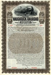 Naugatuck Railroad Company $1000 Specimen Gold Bond - Connecticut 1904