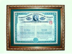 National Railways of Mexico Framed Certificate - 1909