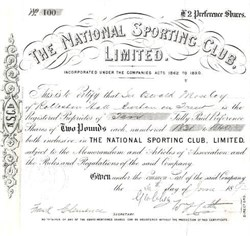 National Sporting Club, Limited - 1892