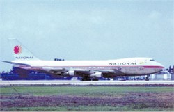 National Airlines postcard Boeing 747
