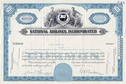 National Airlines Stock Certificate - 1960's