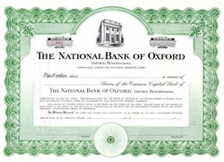National Bank of Oxford Stock Certificate