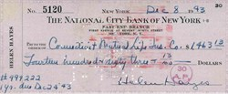 Helen Hayes signed Check ( Famous Actress)  - National City Bank of New York 1943